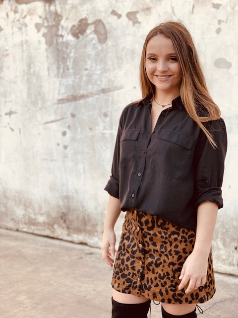 Leopard Button Down Skirt