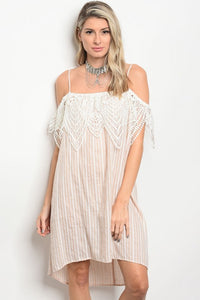 Taupe & Ivory Stripped Crochet Dress