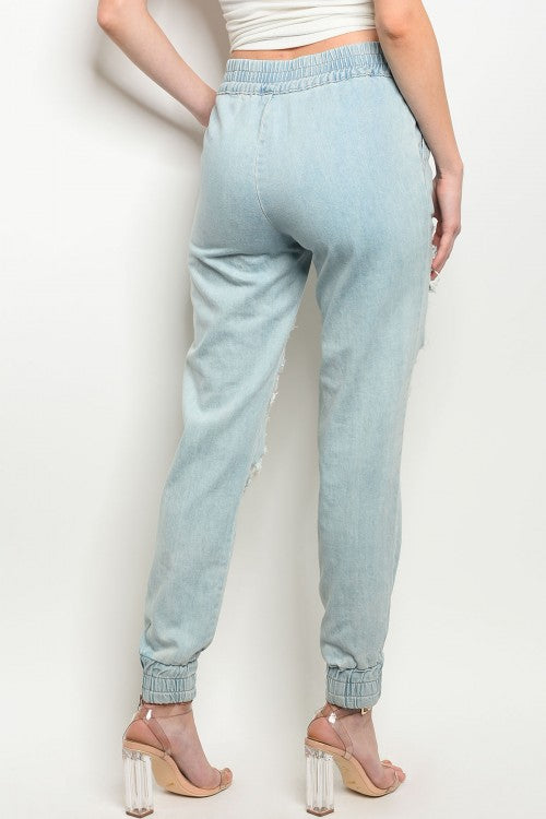Light Blue Denim Distressed Jogger Pants