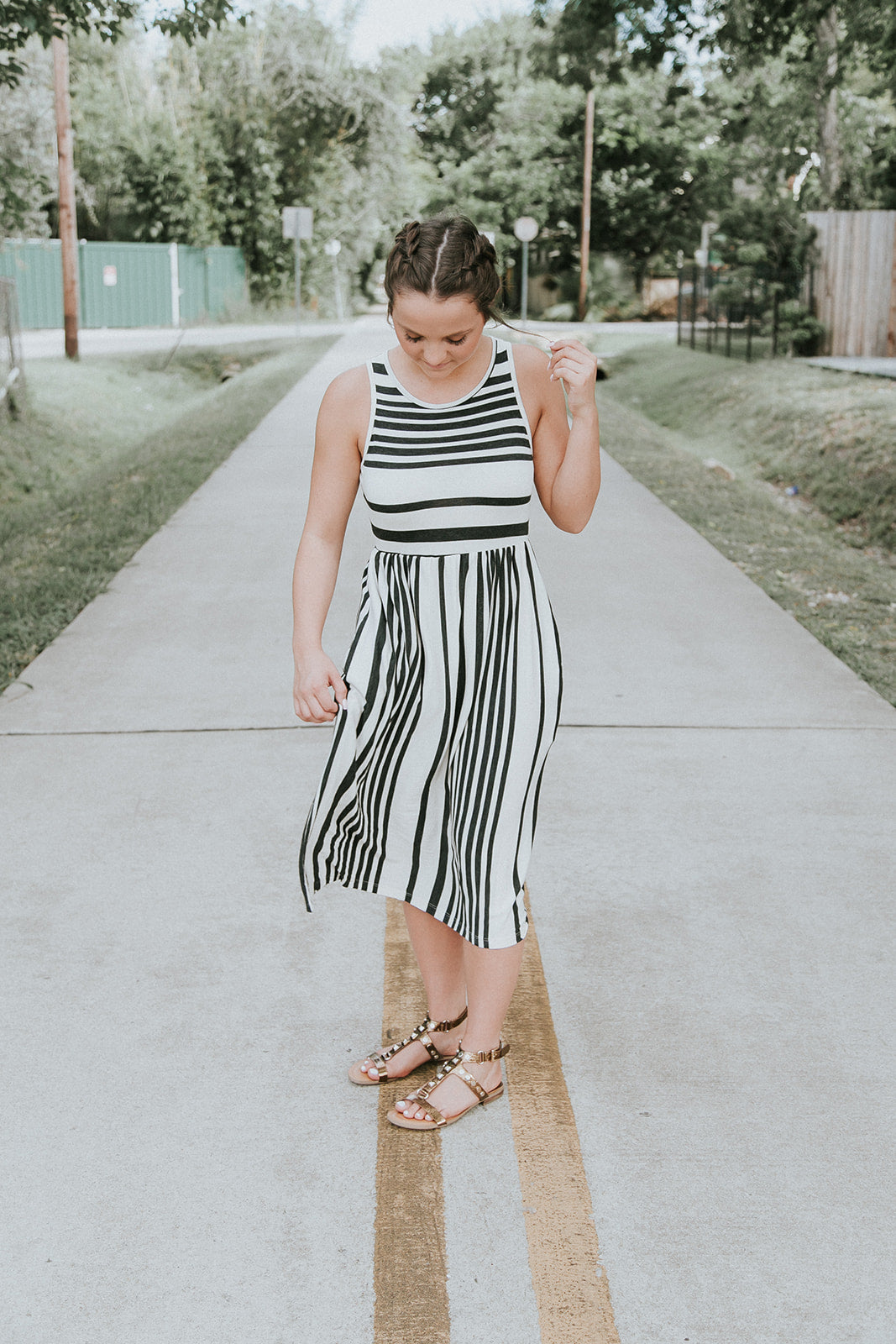Black Stripped MidiDress