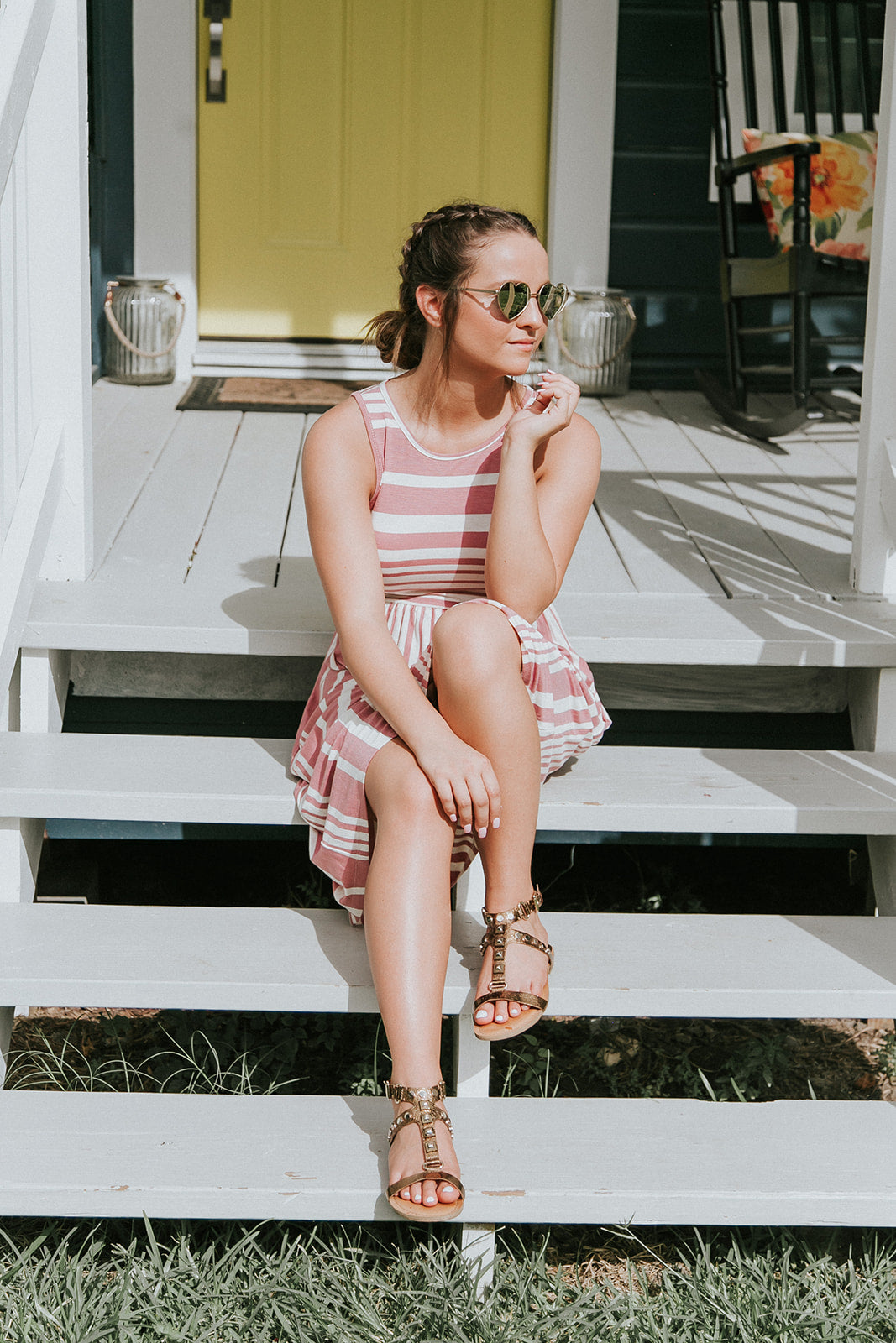Pink Striped Midi Dress