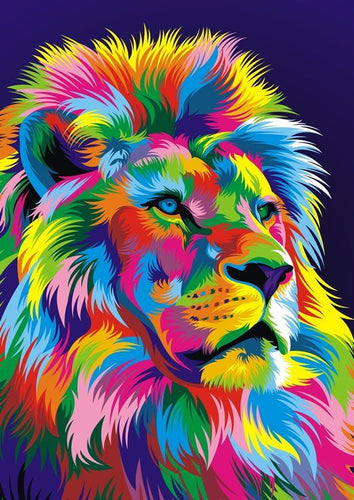 Abstract Colorful Lion DIY Painting By Numbers Wall Art - The Trove Shop