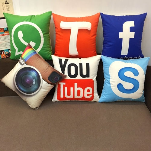 Social Media Logo Throw Pillow