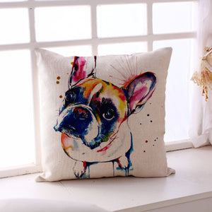"17""x17"" French Bulldog Printed Decorative Sofa Throw Pillow Cover - The Trove Shop"