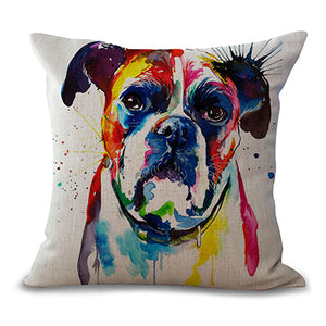 "17""x17"" French Bulldog Printed Decorative Sofa Throw Pillow Cover"