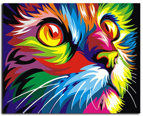 Abstract Colorful Cat DIY Painting By Numbers Wall Art - The Trove Shop