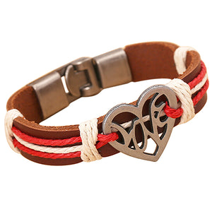 Heart Knitted Leather Bracelet - The Trove Shop