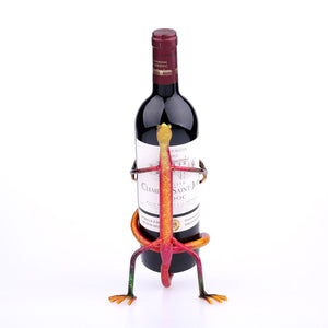 """Gecko"" Wine Bottle Holder Iron Figurine"
