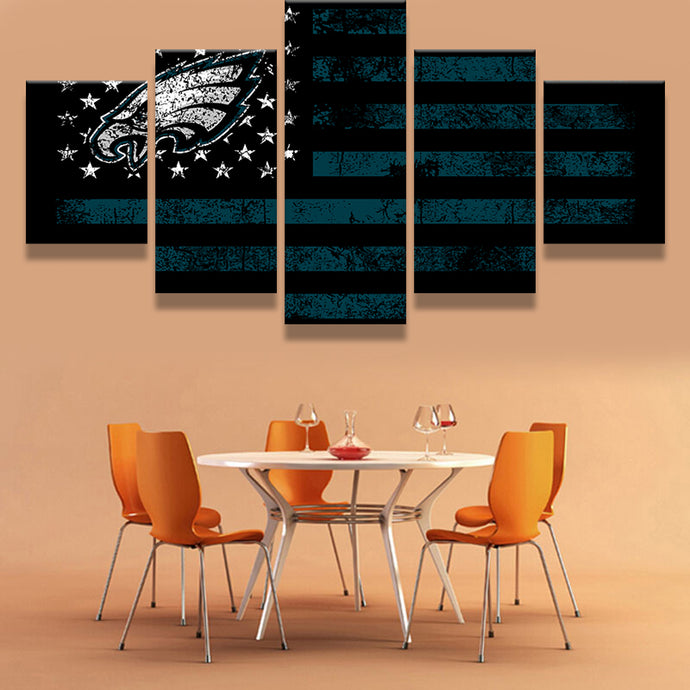 5 Pc Set Philadelphia Eagles Flag Modern Home Wall Decor Canvas Art