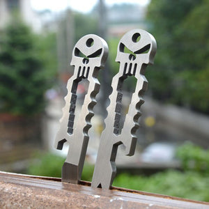 Multifunction Pocket Tools - EDC Mini Pry Bar/Crowbar Bottle Opener Wrench/Spanner Flat Screwdriver keychain Pendant, Stainless Steel Skull Cool Multitool for Hiking Camping Hunting Household - The Trove Shop