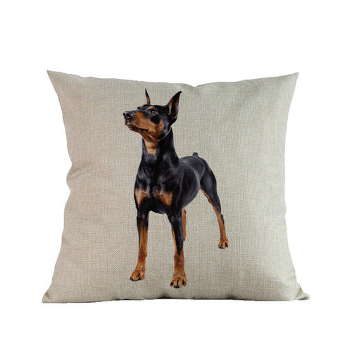 Miniature Pinscher Printed Decorative Sofa Throw Pillow Cover/Cushion+Cover