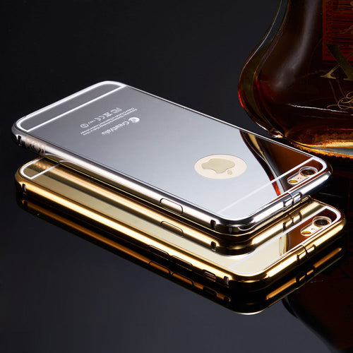 Luxury Aluminum Ultra-thin Mirror Metal Case for iPhone 5 5s SE 6 6s Plus 7 8 Plus - The Trove Shop