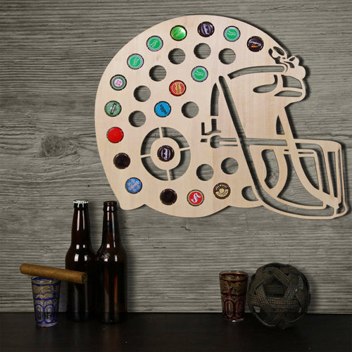 Wall Mounted Wooden Football Helmet Beer Cap Holder - The Trove Shop