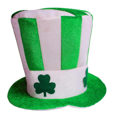 St. Patrick's Day High Clover Striped Novelty Green Hat Party - The Trove Shop