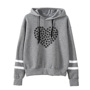 Women's Paw Print Filled Heart Hoodie - The Trove Shop