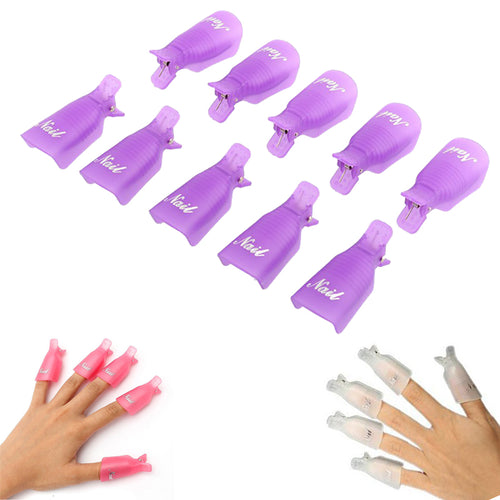 10PC Plastic Nail Soak Off Cap Clip UV Gel Polish Remover - The Trove Shop