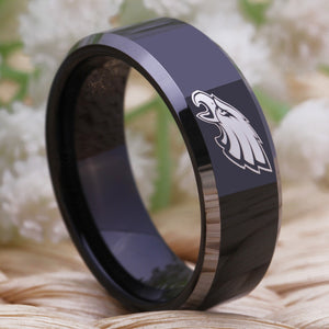 Philadelphia Eagles  Engraved Tungsten Ring - The Trove Shop