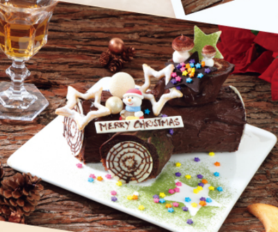 MERRY CHINSTMAS  Christmas Log Cake (750 g) serves 2.3 person 傳統聖誕樹頭蛋糕(750克)約2-3人份量