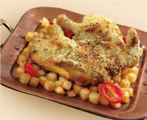Spring Chicken  with a Herb Crust(deboned)(600g) serves 1-2 person 燒原隻無骨春雞配香草脆麵包 (600克)約1-2人份量