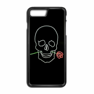 Pastel Black Skull With Rose Neon Sign iPhone 8 Case | Republicase