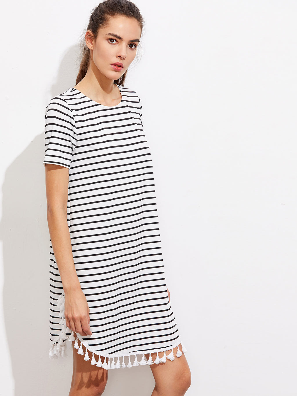 Tassel Trim Dolphin Hem Striped Tee Dress, Dress For Women