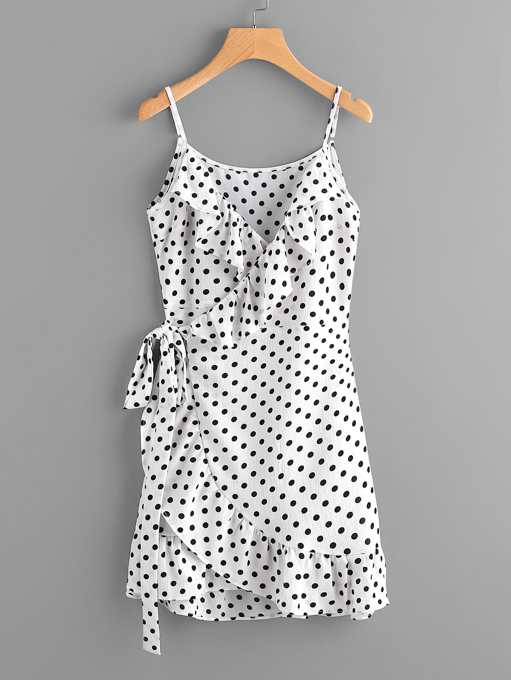 Polka Dot Wrap Self Tie Waist Frill Cami Dress, New Collection