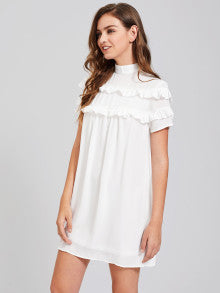 Band Collar Frill Detail Dress
