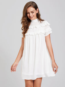 Band Collar Frill Detail Dress, Casual Sleeveless Short Dress