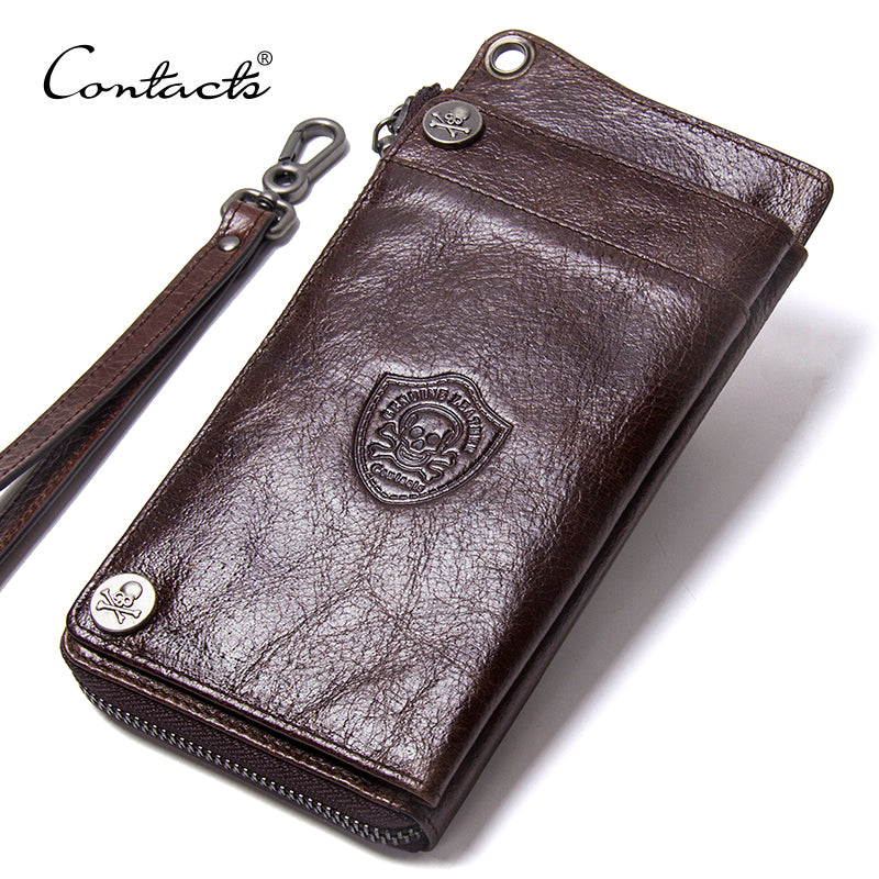 Leather Wallet Men, Genuine Leather Wallet Brand Male Purse Long
