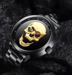 Skull Watches Male, Steel Wrist Watch Men