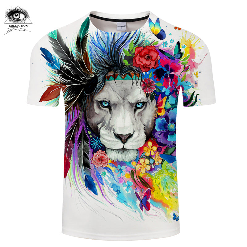 King of the Forest by Pixie cold Art 3D T-shirts Lion Printed Tshirts