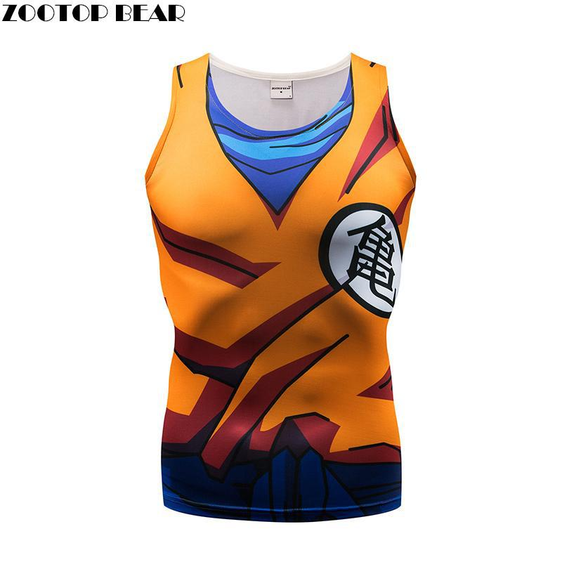 Tank Tops Men Cartoon vest super saiyan Dragon Ball singlets Fitness