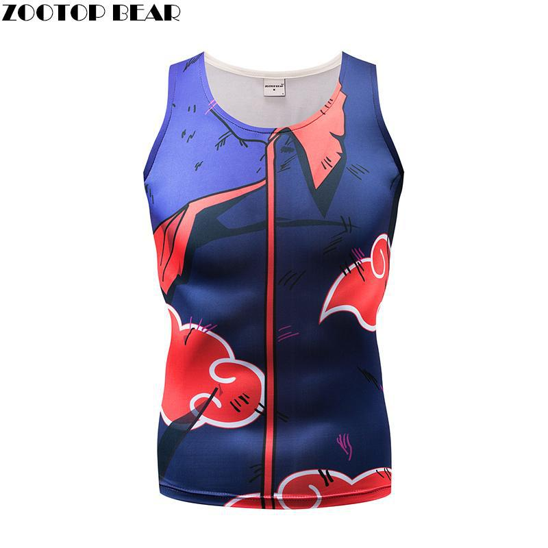 Print Tank Tops Men Vest Male singlet Anime Top&Tee