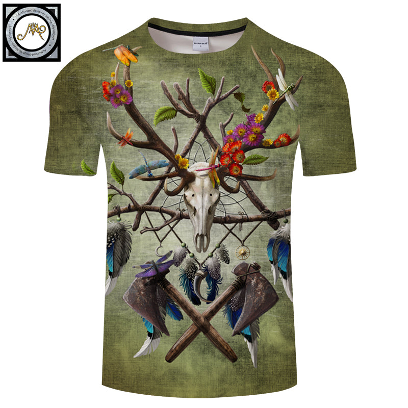 Native American Skull2 White More Detail Green 3D Print shirt