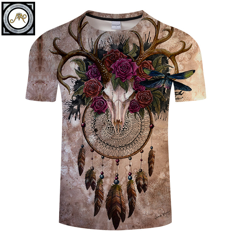 Skull dreamcatcher By Sunima Art 3D ElkPrint T shirt Men