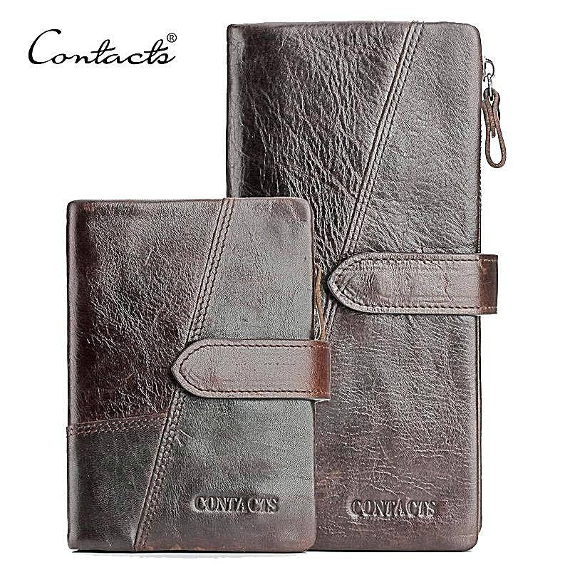 Leather Men Wallets With Card Holder Vintage Long Wallet