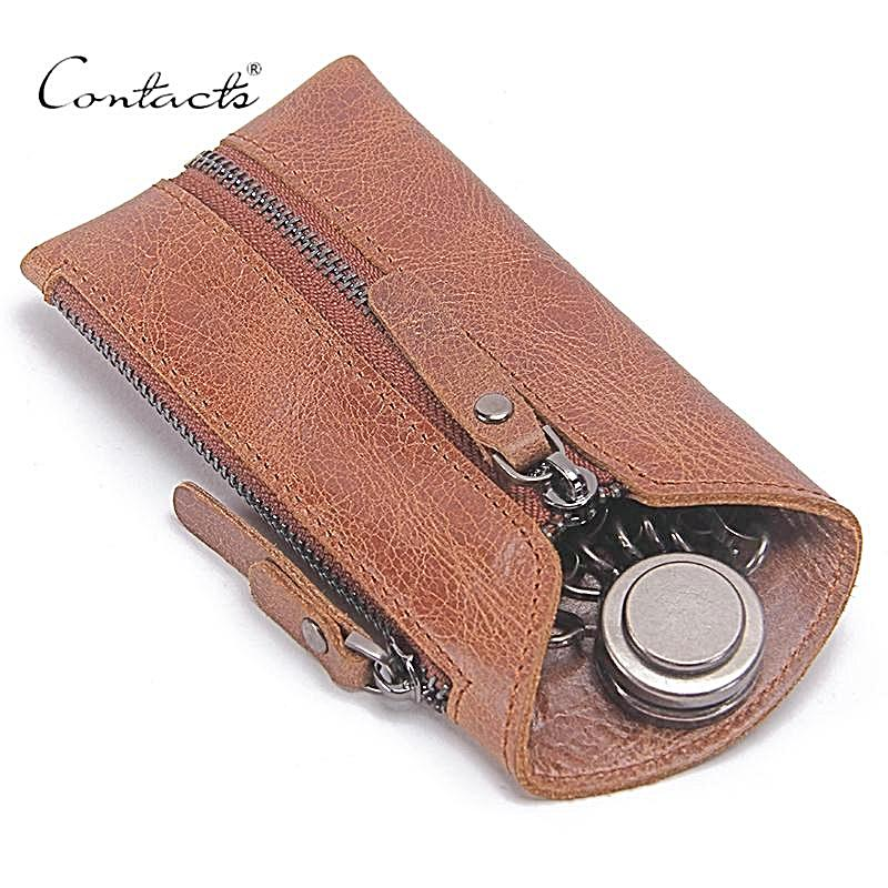 Vintage Genuine Leather Key Wallet Keychain Covers Zipper