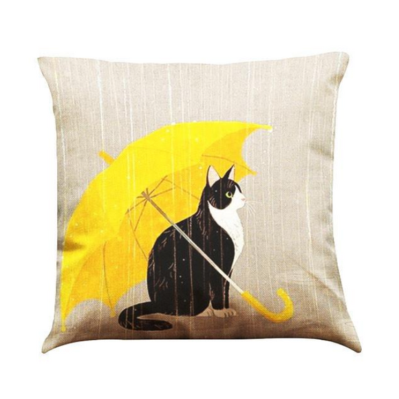 Cat In The Rain Pillow Case