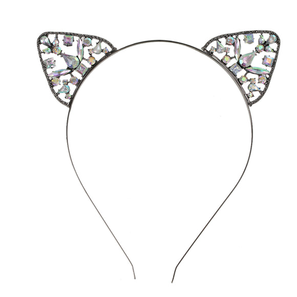 Purrty Cat Ears Rhinestone Headband
