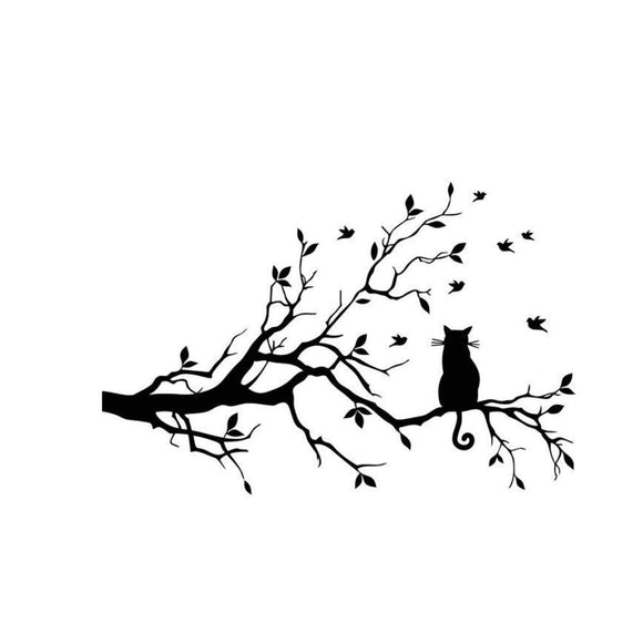Cat on a Tree Wall Sticker