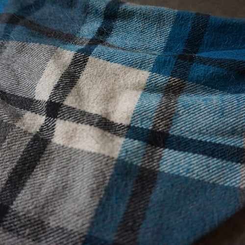 Blue Plaid Dog Bandana - Paws & Prints Studio