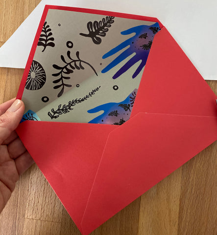 Loteria Press_ envelope liner tutorial with Loteria Press gift wrap