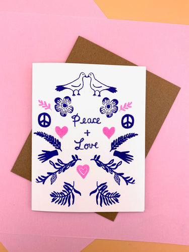 Love and Peace Branches and Dove - Card