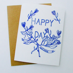 """Happy Day"" Card, blue ink on white paper risograph print made by Juana Meneses / Loteria Press"