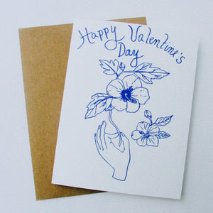Happy Valentine's Day - Blue Hibiscus Card
