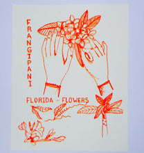 Risograph Print by Juana Meneses / Loteria Press. Frangipani and hand print inspired by vintage tattoos