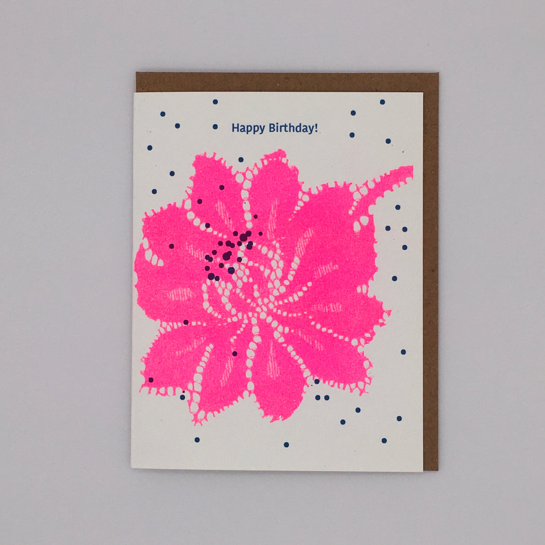 Happy Birthday! Pink Flower and Blue Dots Card