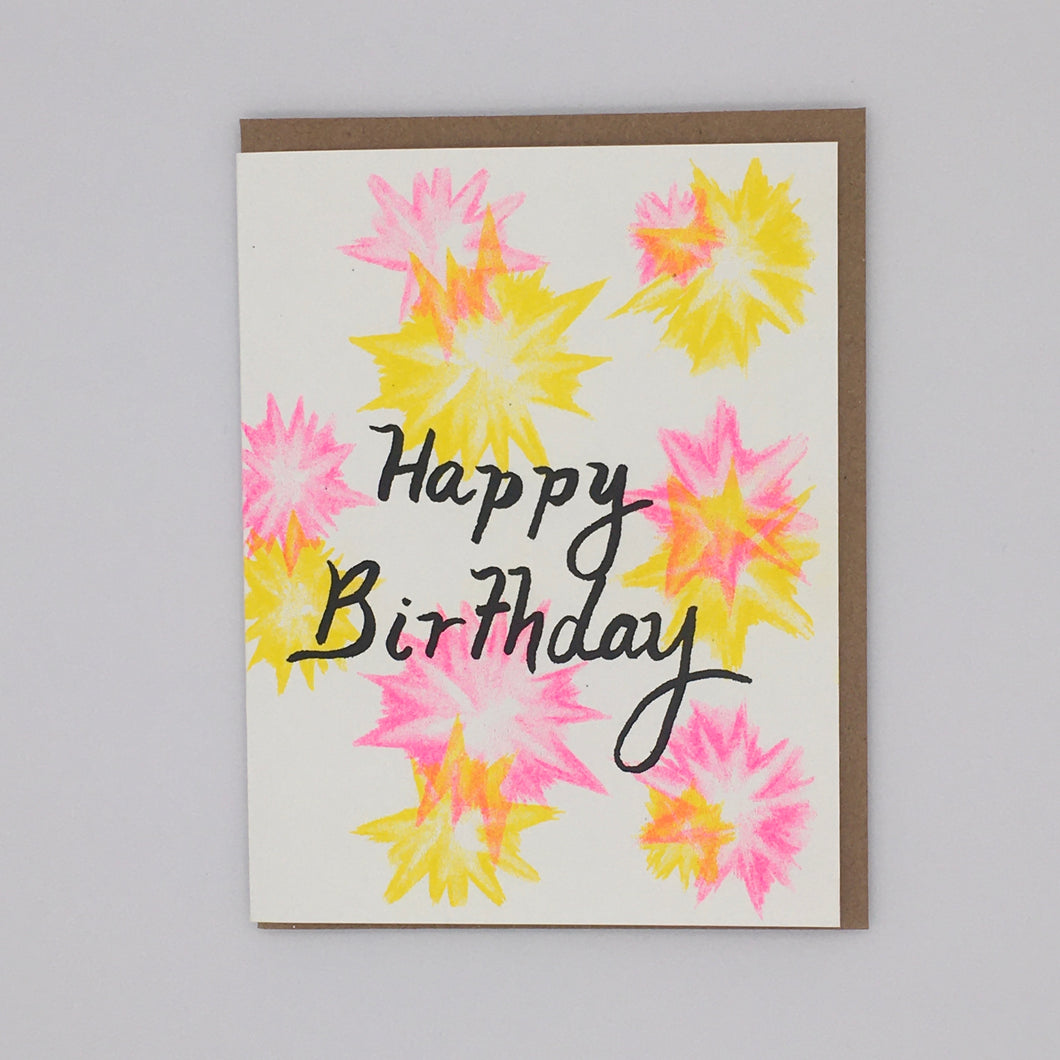 Happy Birthday - Yellow and Pink Flashes Card