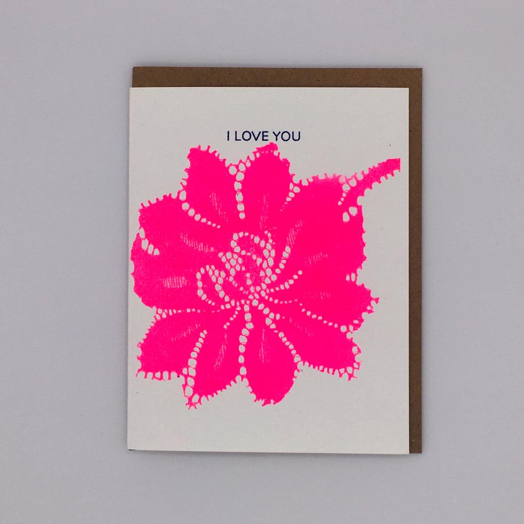 I Love You - Hot Pink Card