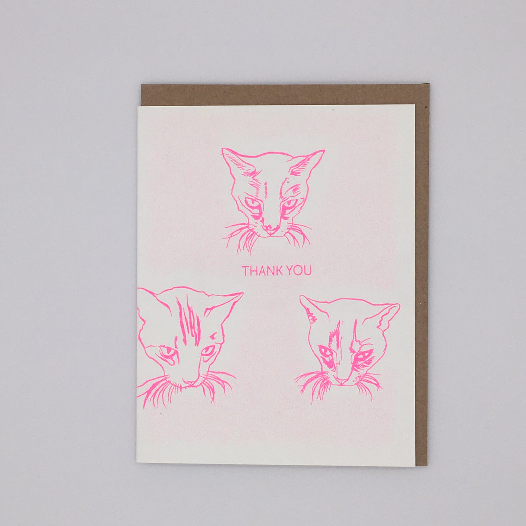 Thank You - Three Hot Pink Cats Card